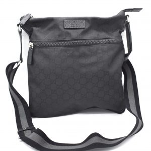 Gucci GG Guccissima Crossbody Black Nylon Messenger Bag