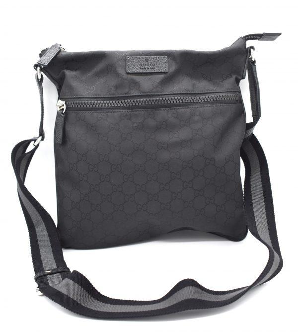 Gucci GG Guccissima Crossbody Black Nylon Messenger Bag