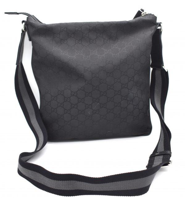 Gucci GG Guccissima Crossbody Black Nylon Messenger Bag_Back