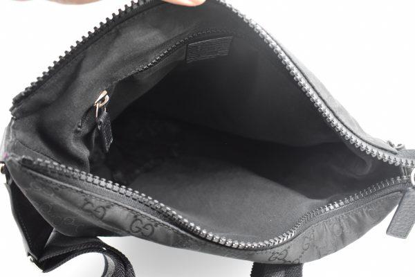 Gucci GG Guccissima Crossbody Black Nylon Messenger Bag_Interior