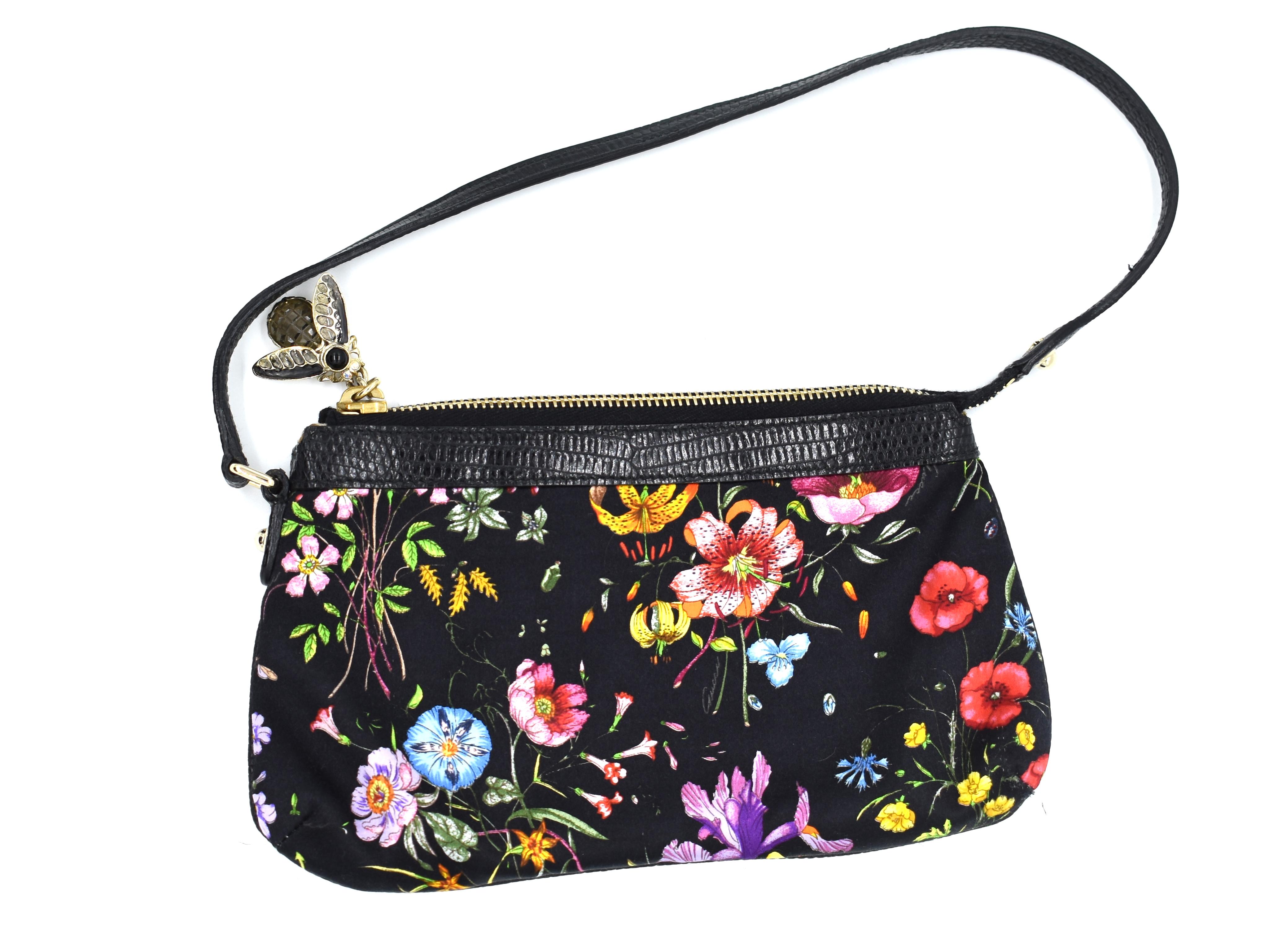 "49e927ba81300 Gucci Lizard-Trimmed ""Flora"" Silk Pochette – DesignerShare"