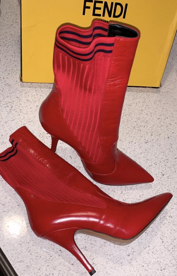 Red Fendi Sock Booties