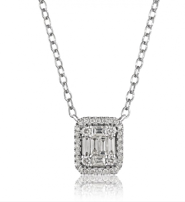 Rogers & Hollands Baguette & Round Rectangle Diamond Cluster Necklace in 14k White Gold