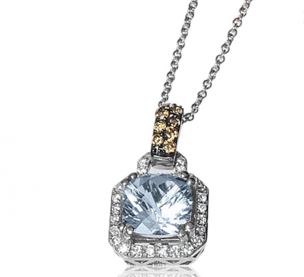 Rogers & Hollands EFFY Aquamarine Pendant with Brown & White Diamond Halo in 14k White Gold