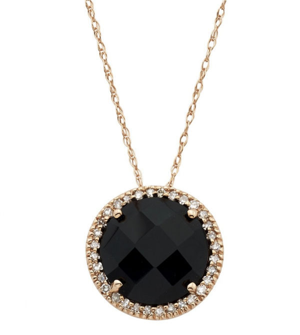 Rogers & Hollands Round Onyx & Diamond Halo Pendant in 10k Rose Gold