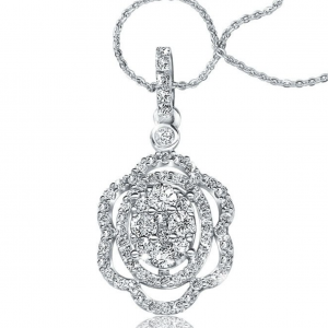 Rogers & Hollands Diamond Halo Cluster Pendant .60ct. T.W.