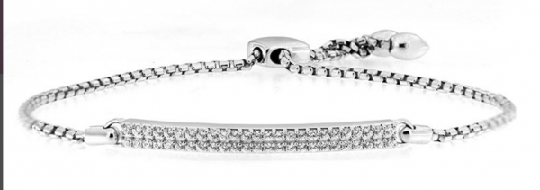Rogers & Hollands Diamond Double Bar Bolo Bracelet 1/2ctw in 10k White Gold