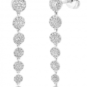 Rogers & Hollands Shy Creation Graduated Diamond Dangle Earrings in 14k White Gold