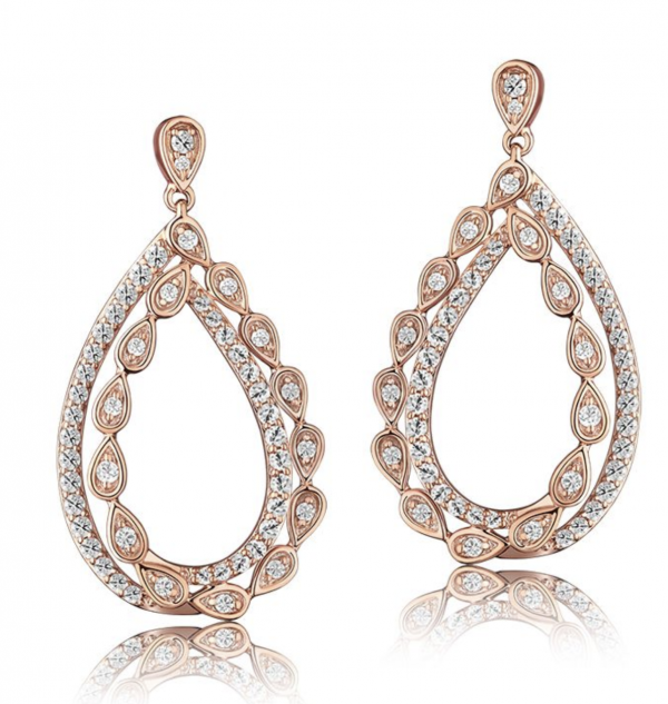 Rogers & Hollands Double Open-Pear Loop 1ctw. Diamond Dangle Earrings in 14k Rose Gold