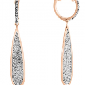 Rogers & Hollands EFFY Long Teardrop Pave Diamond Dangle Earrings in 14k Rose Gold