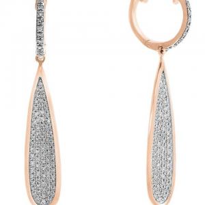 Rogers & Hollands EFFY Long Teardrop Pave Diamond Dangle Earrings in 14k Rose Gold