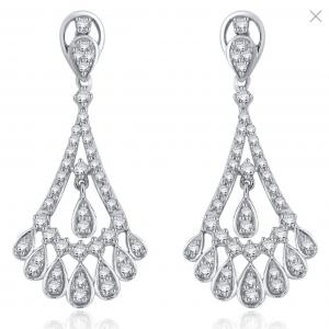 Rogers & Hollands Diamond 1ctw. Fancy Teardrops Chandelier Earrings in 14k White Gold