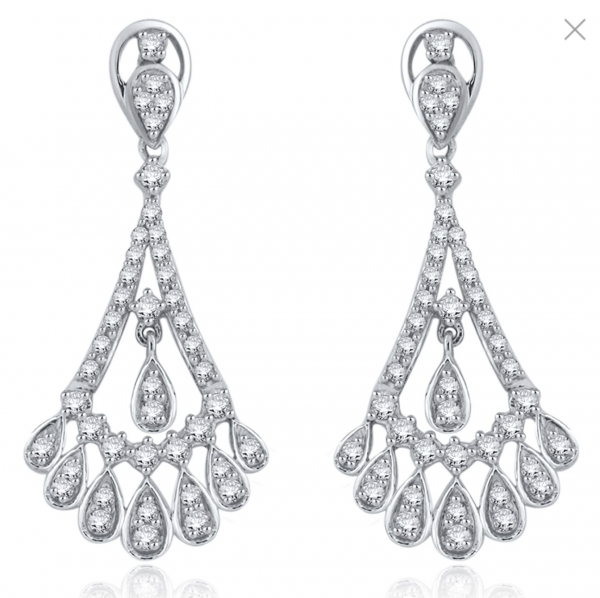 Rogers & Hollands Diamond 1ctw. Fancy Teardrops Chandelier Earrings in 14k White Gold