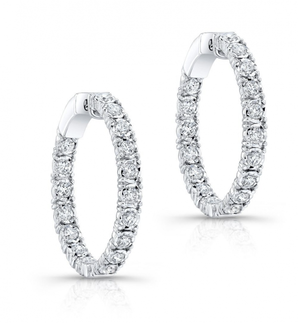 Rogers & Hollands Diamond 1ctw. In & Out Hoop Earrings in 14k White Gold