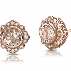 Rogers & Hollands K Crown: Bezel-Set Morganite & Diamond Stud Earrings in 10k Rose Gold