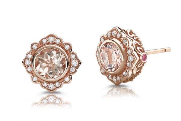 Rogers & Hollands K Crown: Bezel-Set Morganite & Diamond Stud Earrings in 10k Rose Gold