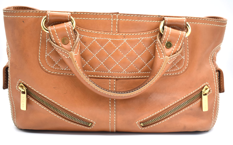 c2b598d618028 Celine Camel Top Handle Cross-Stitch Bag – DesignerShare