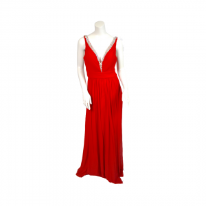 Jovani Red Embellished V-Neck Gown